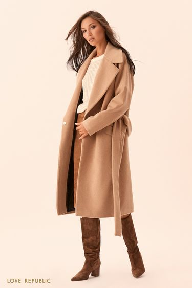 Пальто-халат песочного цвета с поясом 9450971106