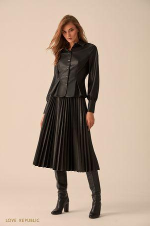 Плиссированная юбка макси из искусственной кожи