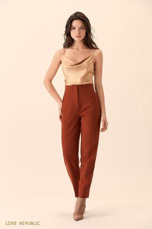 Укороченные брюки медного цвета с высокой талией фото