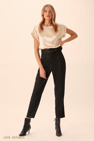 Укороченные брюки в полоску с высокой талией фото