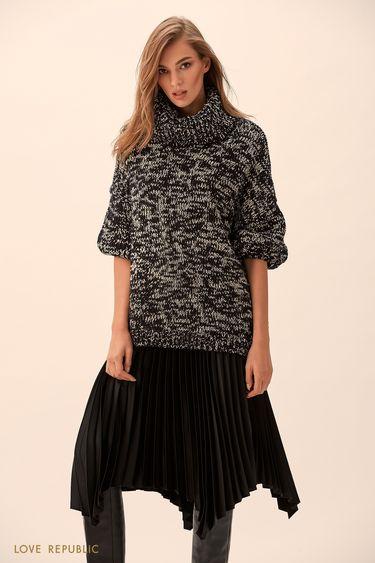 Плиссированная юбка чёрного цвета с неровным краем 9451007238