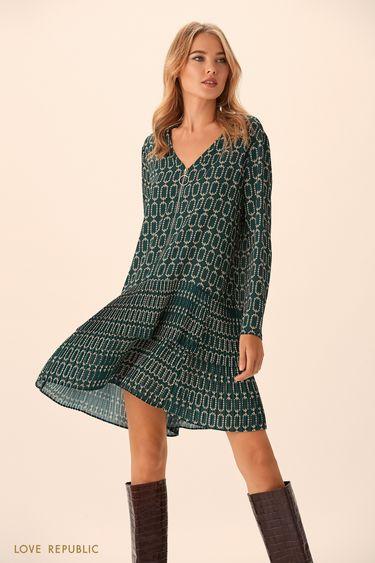 Широкое зелёное платье с принтом с заниженной талией 9451008538