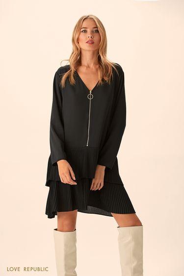 Широкое чёрное платье с заниженной талией 9451008538