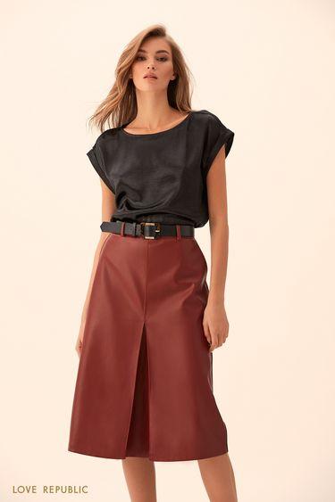 Блузка из жатой ткани чёрного цвета 9451011311