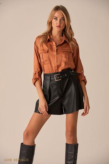 Рубашка цвета капучино с карманами на клапане 9451015318
