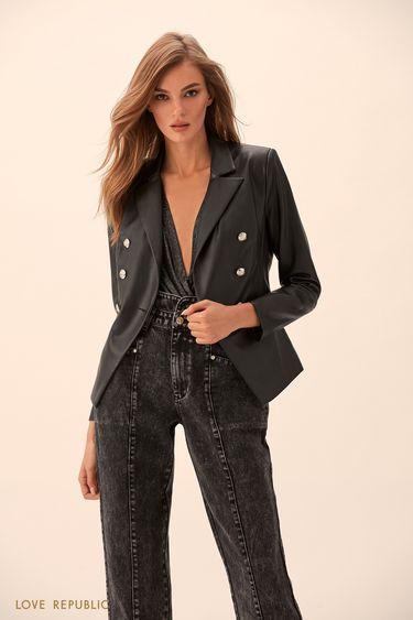 Двубортный пиджак из искусственной кожи  9451062622