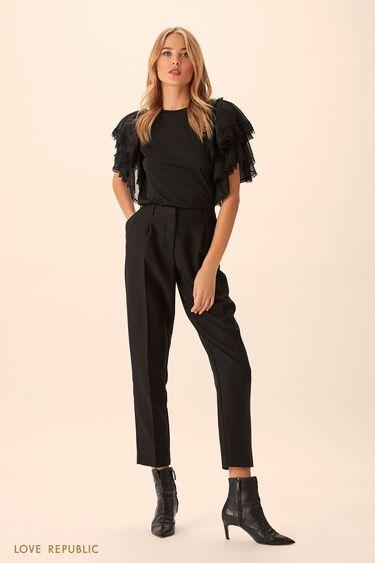 Укороченные брюки из костюмной ткани чёрного цвета 9451063724