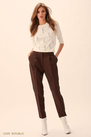 Укороченные брюки из костюмной ткани медного цвета 9451063724