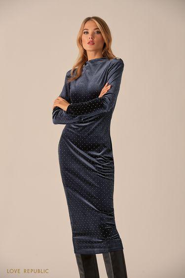 Тёмно-синее платье из бархатистой ткани со стразами 9451065532