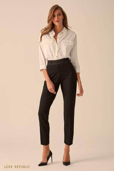 Укороченные брюки с отделкой из искусственной кожи  9451068731