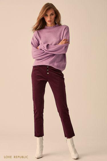 Узкие брюки изхлопковой ткани сливового цвета 9451083728