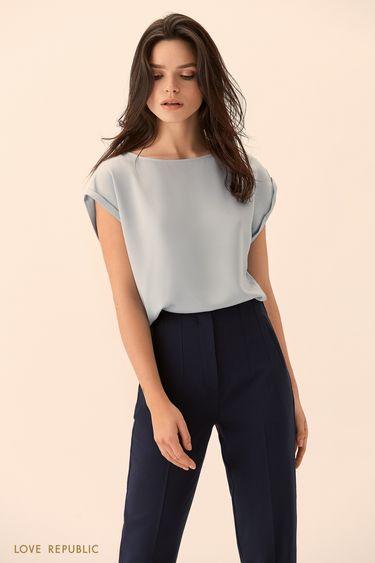 Укороченные тёмно-синие брюки с высокой талией 9451086730