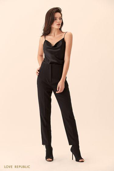 Укороченные чёрные брюки с высокой талией 9451086730