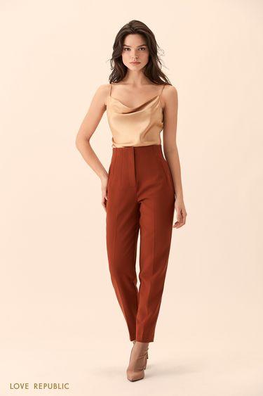Укороченные брюки медного цвета с высокой талией 9451086730