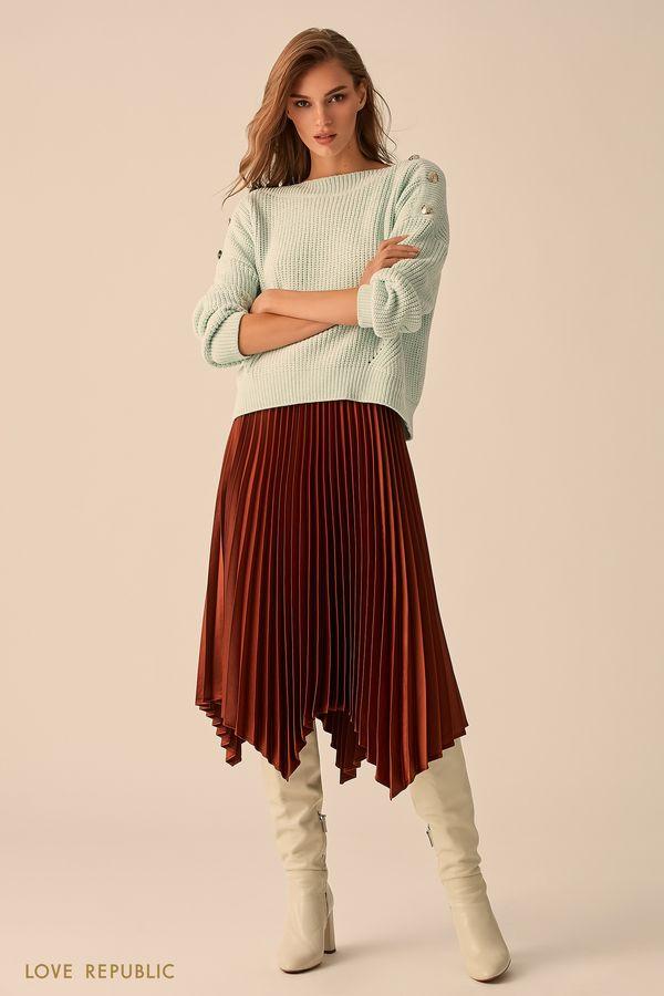 Плиссированная юбка чёрного цвета с неровным краем 9451007238-50