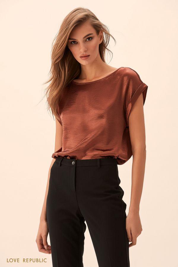 Блузка из жатой ткани медного цвета 9451011311-67