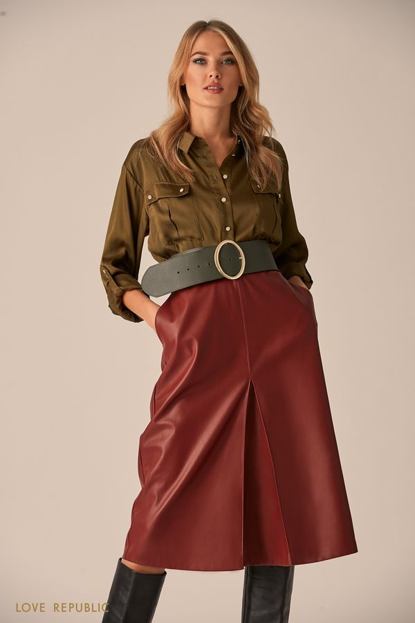Рубашка цвета хаки с карманами на клапане 9451015318-13