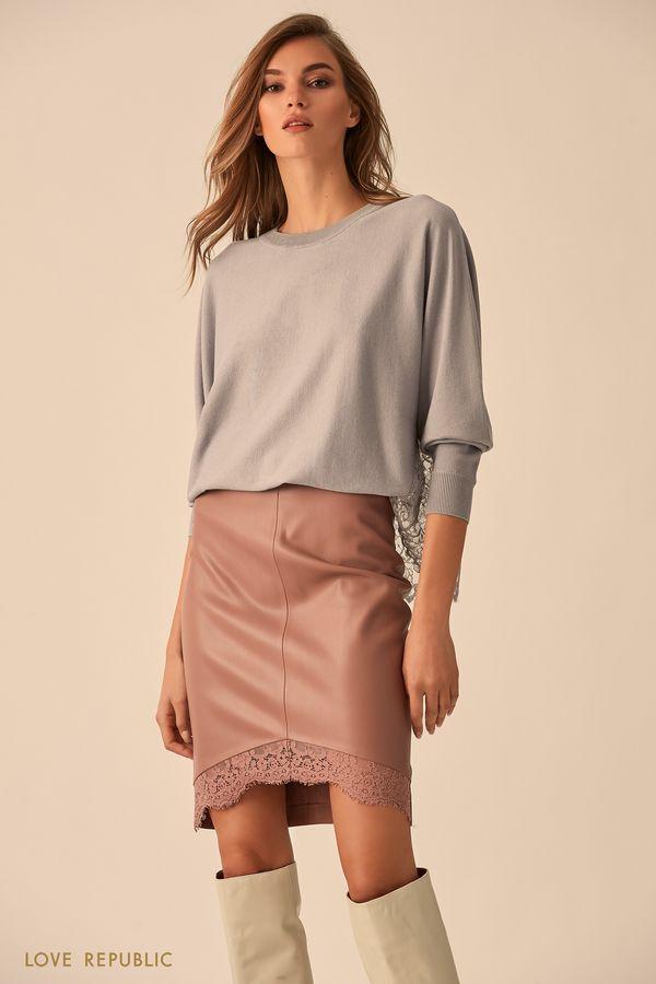 Мини-юбка цвета капучино с отделкой из кружева 9451062229-66