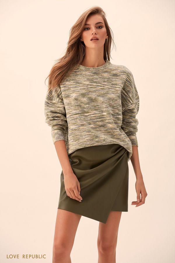 Асимметричная юбка из искусственной кожи чёрного цвета 9451062233-50
