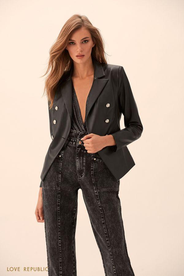Двубортный пиджак из искусственной кожи  9451062622-50