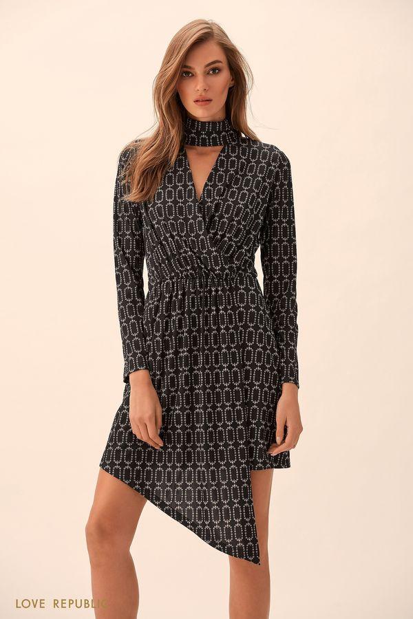 Короткое платье асимметричного кроя на запахе 9451067537-53