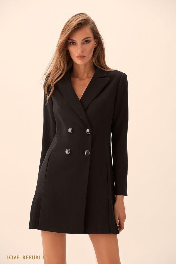 Двубортное платье-пиджак с плиссировкой 9451073543-50