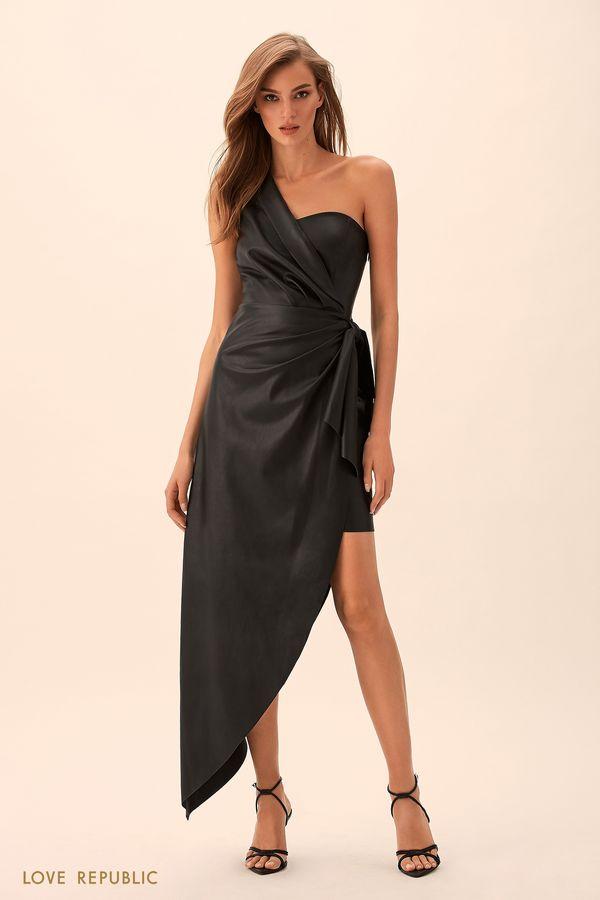 Вечернее платье асимметричного кроя из искусственной кожи 9451075540-50