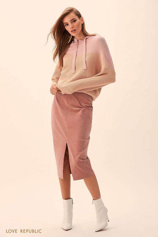 Юбка из хлопковой ткани пыльно-розового цвета с разрезом 9451083230-93