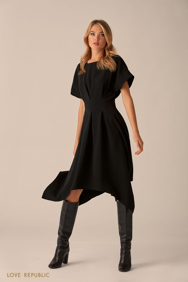 Приталенное платье с плиссированной юбкой 9451084549-50