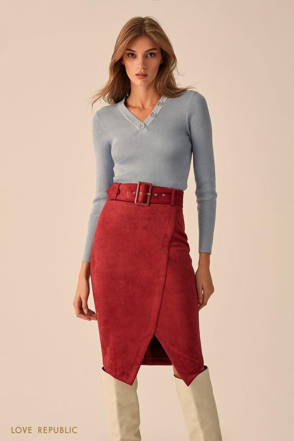 Тёмно-синяя юбка асимметричного кроя на запахе 9451085226-47