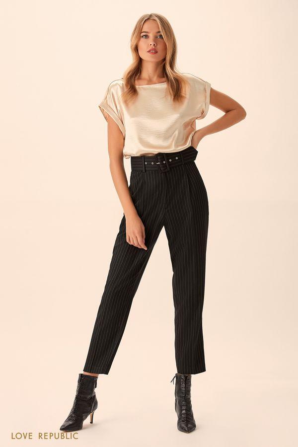Укороченные брюки в полоску с высокой талией 9451088743-53