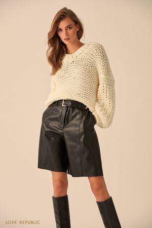 Джемпер крупной вязки с объемными рукавами