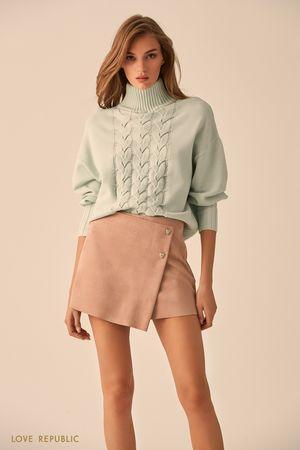 Фактурный свитер мятного цвета с высоким воротником