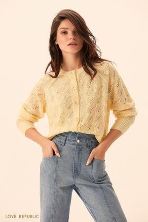 Джемпер с пуговицами желтого цвета фото