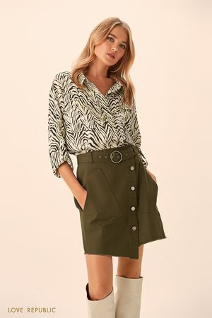 Хлопковая асимметричная юбка цвета хаки фото