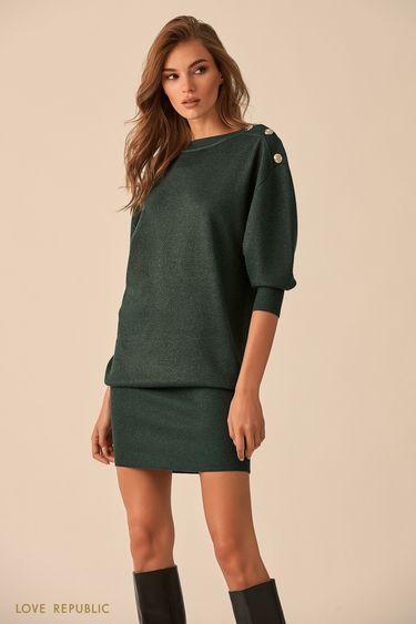 Короткое платье изумрудного цвета с пуговицами на плечах 9451145536