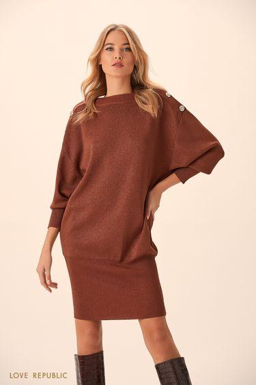 Короткое платье медного цвета с пуговицами на плечах 9451145536