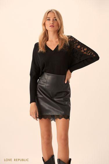 Джемпер чёрного цвета с кружевным декором 9451149843