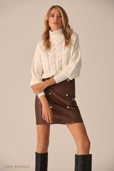 Фактурный свитер молочного цвета с высоким воротником  9451151855