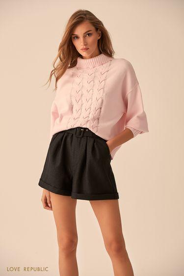 Фактурный свитер розового цвета с высоким воротником  9451151855