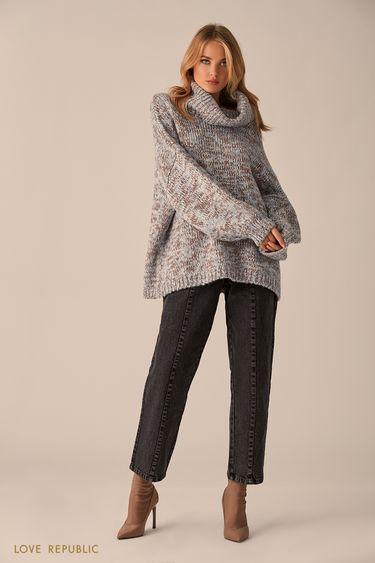Серый свитер оверсайз с декором из пайеток 9451158856