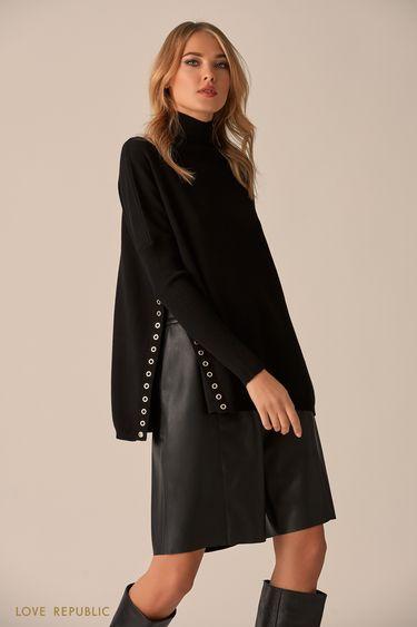 Тонкий свитер чёрного цвета с боковыми разрезами 9451160861