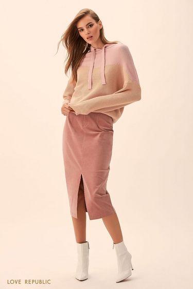 Джемпер-худи бежевого и розового цвета 9451164865