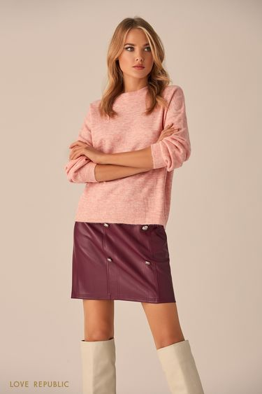 Джемпер розового цвета с металлическим декором 9451169869
