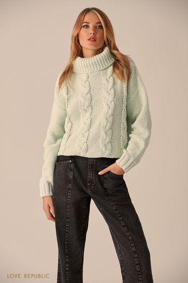 Объёмный свитер мятного цвета с высоким воротом 9451172819