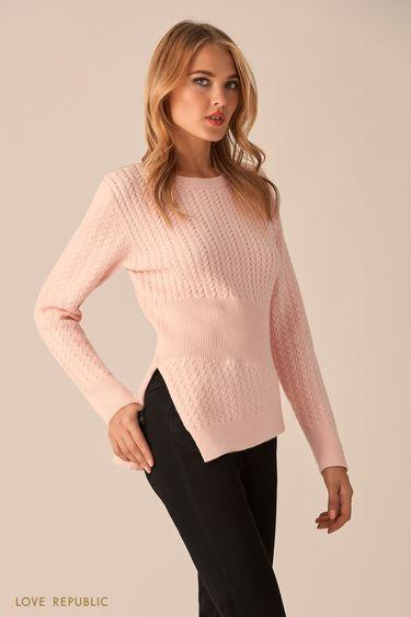 Джемпер розового цвета с асимметричным краем 9451173818