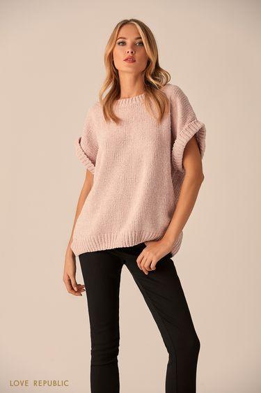 Удлинённый джемпер пыльно-розового цвета скороткими рукавами 9451178875