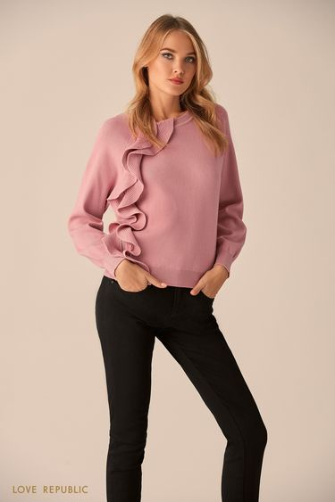 Джемпер пыльно-розового цвета с асимметричной молнией  9451179876