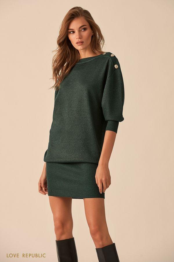Короткое платье чёрного цвета с пуговицами на плечах 9451145536-50