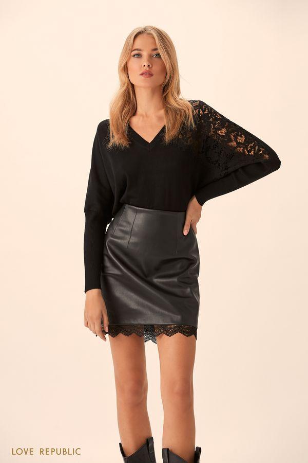 Джемпер чёрного цвета с кружевным декором 9451149843-50